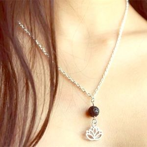 🆕 Lotus Volcanic Rock Silver Chain Necklace